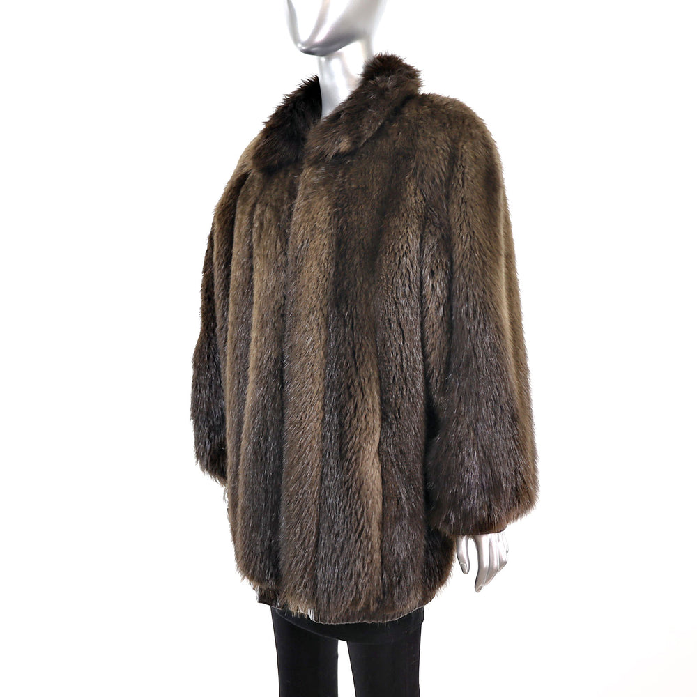 Unisex Beaver Jacket Reversible to Leather- Size XL (Vintage Furs)