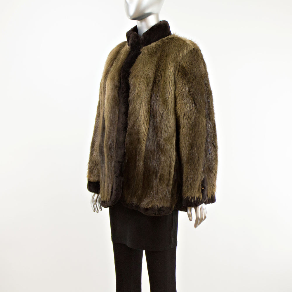 Beaver Jacket with Sheared Beaver Trim- Size L (Vintage Furs)