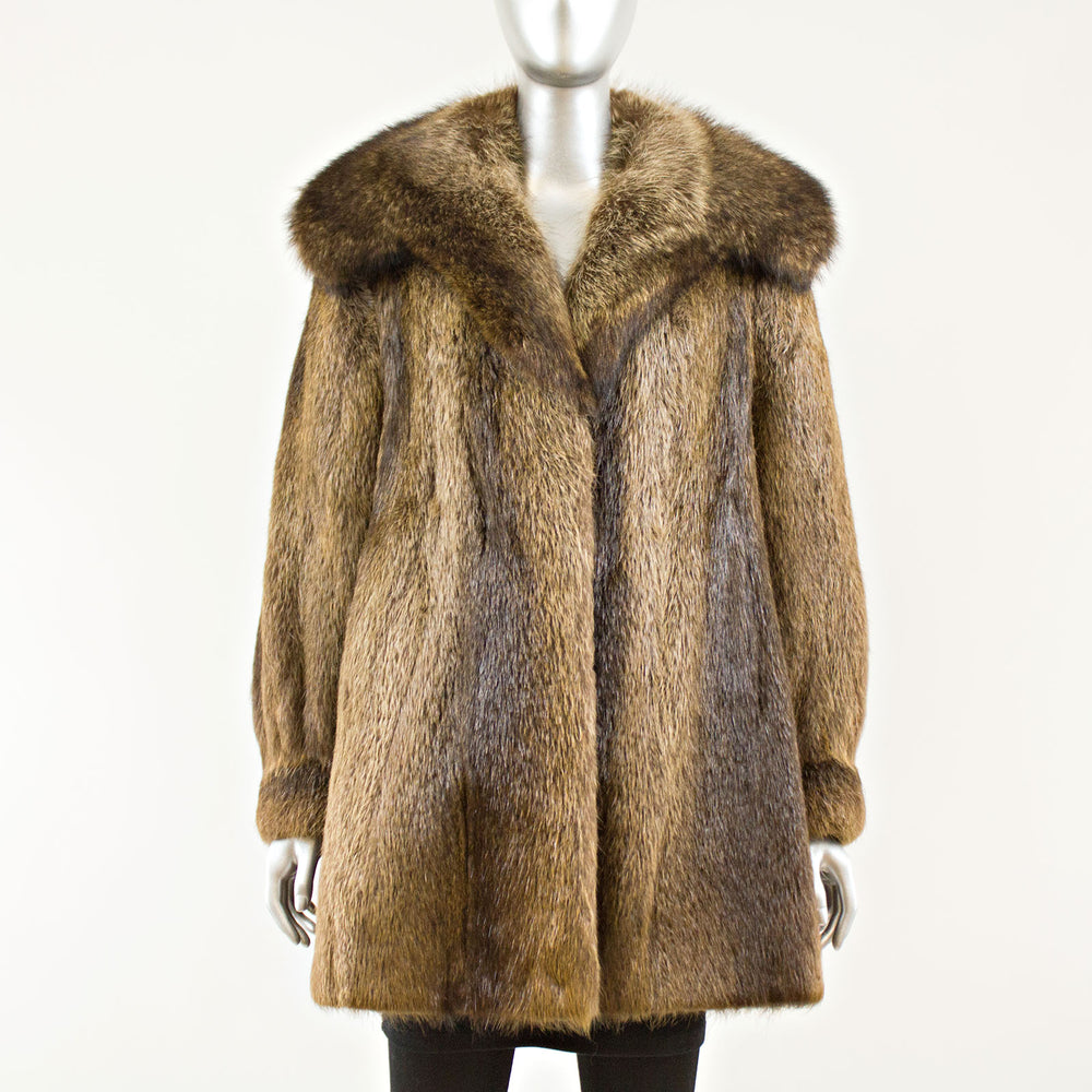 Beaver with Raccoon collar jacket - Size M (Vintage Furs)