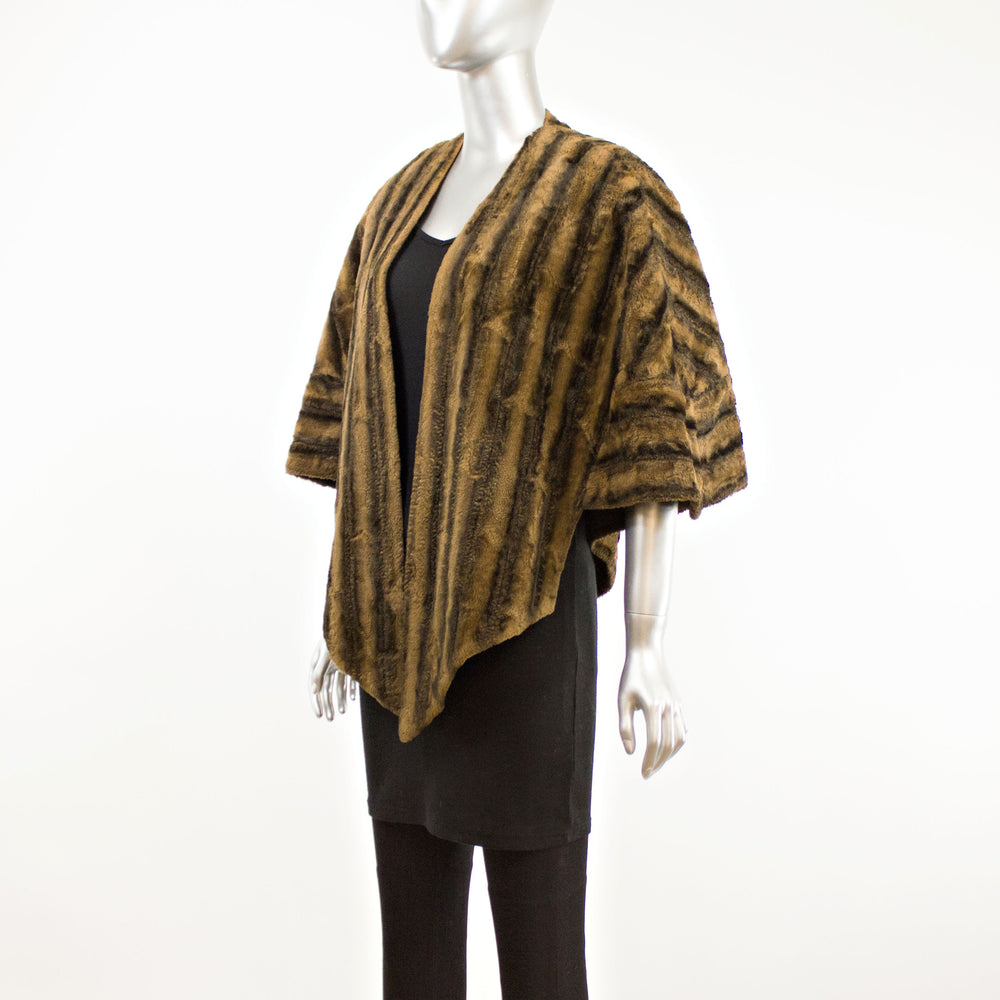 Black and Brown Striped Shearling Stole- Free Size (Vintage Furs)