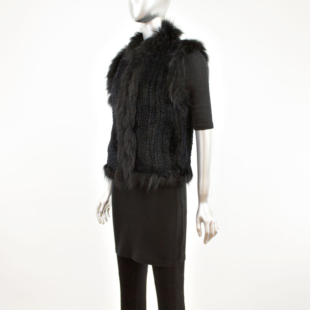Black Knitted Rabbit Vest- Size XS (Vintage Furs)