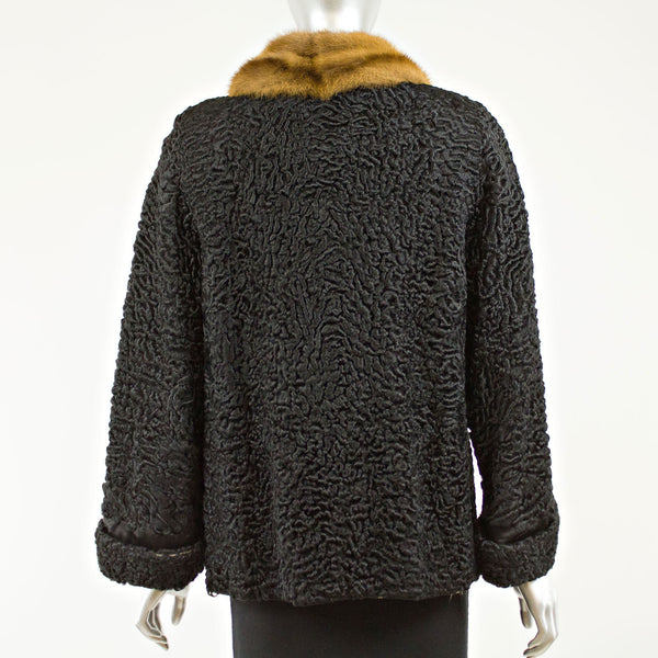 Black Persian lamb with mink collar jacket - Size S (Vintage Furs)