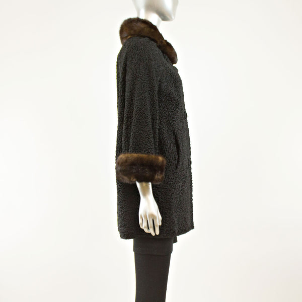 Black Persian Lamb Coat Swing Mink Collar and Cuffs- Size L (Vintage Furs)