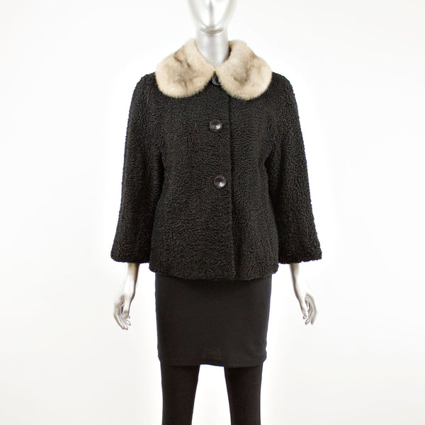 Black Persian Lamb Jacket with Mink Collar- Size M