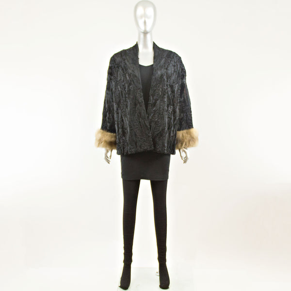 Black Persian Lamb Jacket with Stone Martin Cuffs - Size L (Vintage Furs)