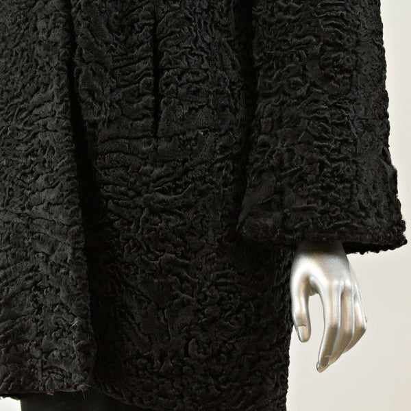 Black Persian Lamb Jacket with Mink- Size M (Vintage Furs)
