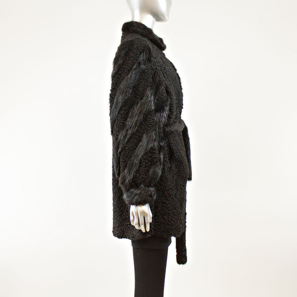 Black Persian Lamb with Nutria Insert Coat with Belt 3/4- Size XL (Vintage Furs)