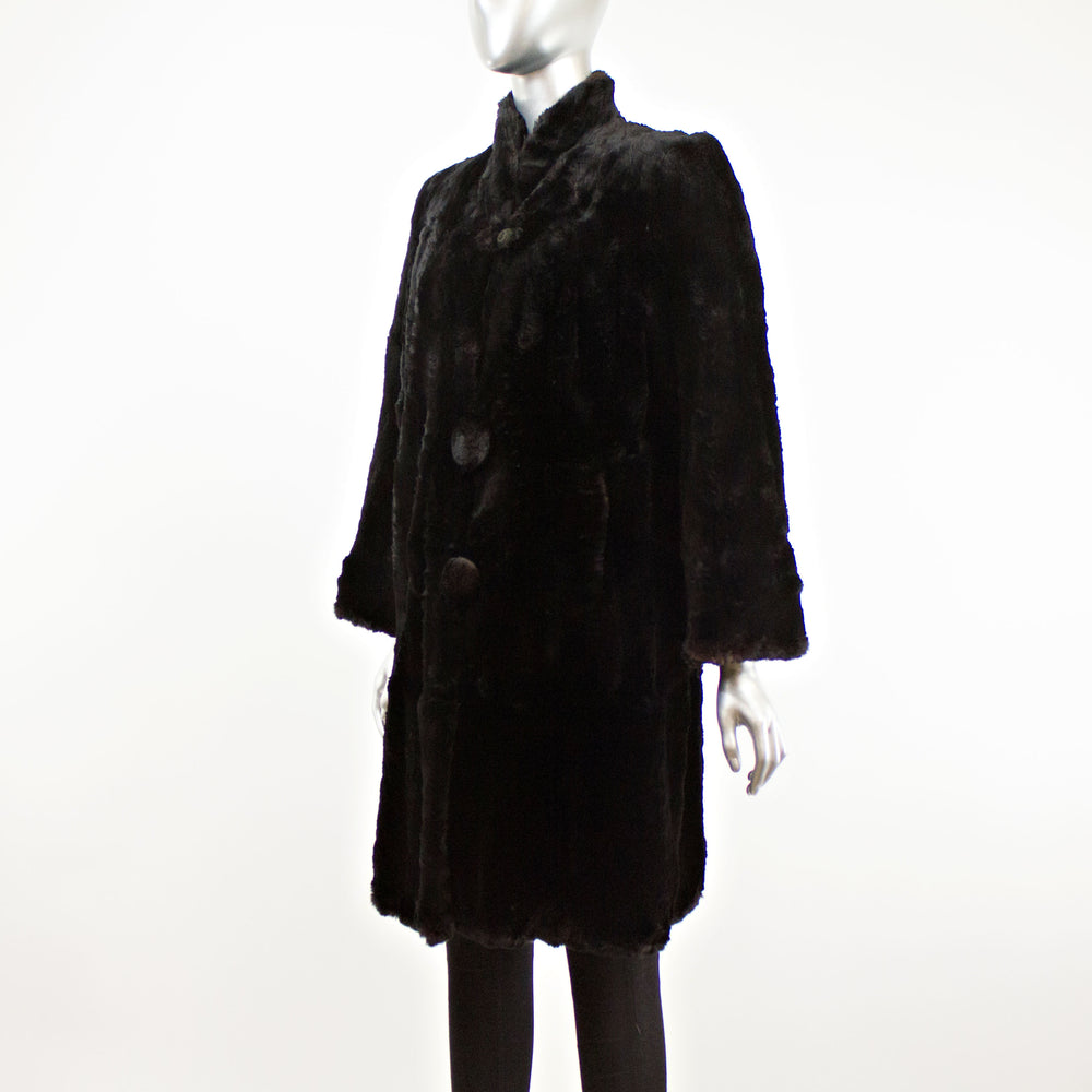 Black Rabbit 3/4 Coat- Size M (Vintage Furs)