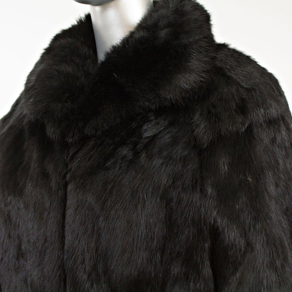Black Rabbit Jacket- Size L (Vintage Furs)