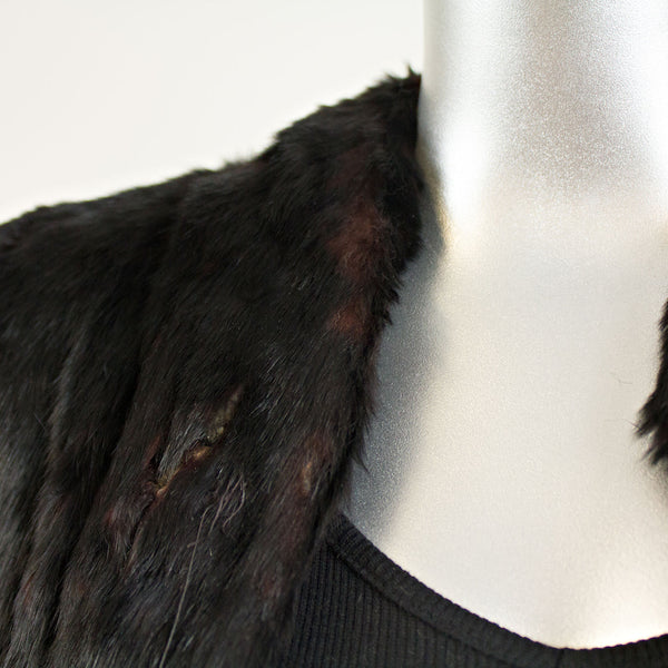 Black Rabbit Jacket - Size S ( Vintage Furs)
