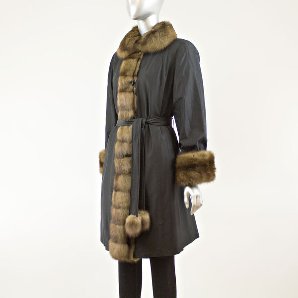 Black Sheared Mink Rev. 3/4 Coat to Taffeta with Sable Trim  - Size S (Vintage Furs)