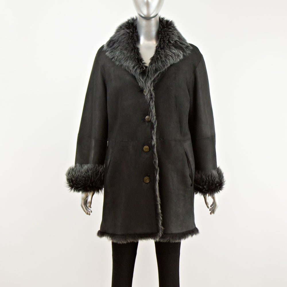 Black Shearling 3/4 Reversible Jacket- Size M (Vintage Furs)