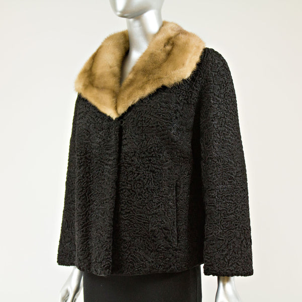 Black persian lamb jacket with autumn haze mink collar - Size M (Vintage Furs)