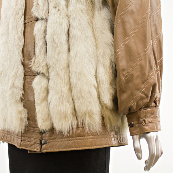 Blue Fox and Leather Jacket with Detachable Sleeves- Size M (Vintage Furs)