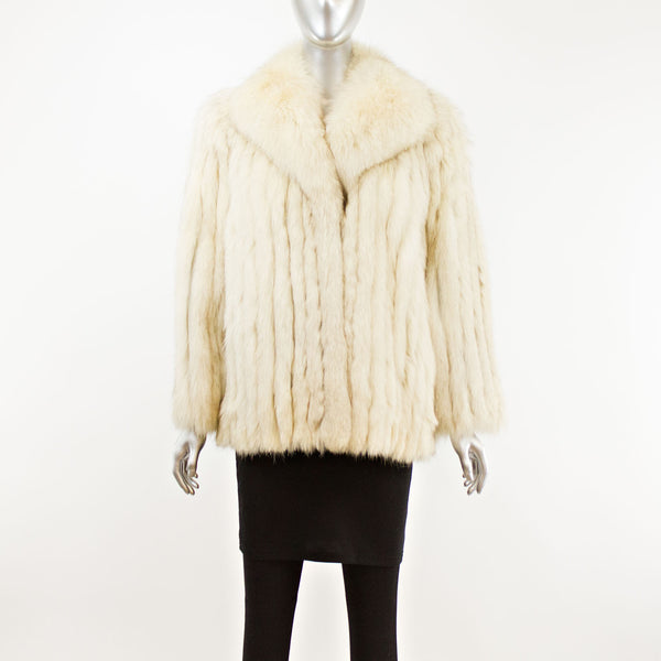 Blue Fox Corded Jacket- Size M (Vintage Furs)