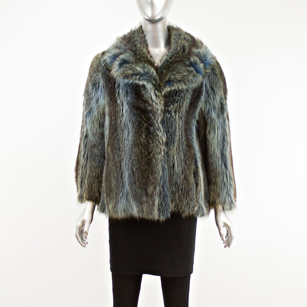 Blue Raccoon Jacket- Size M (Vintage Furs)