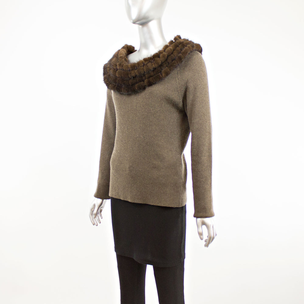 Brown Cashmere Sweater with Mink Collar- Size M-L (Vintage Furs)