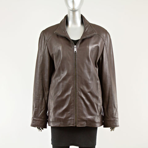 Brown Leather Men's Jacket - Size M - Vintage Furs