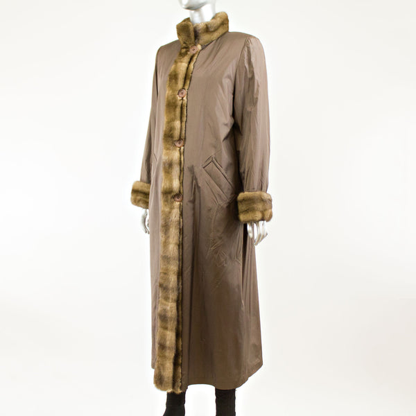 Brown microfiber coat with sheared mink lining- Size S(Vintage Furs)
