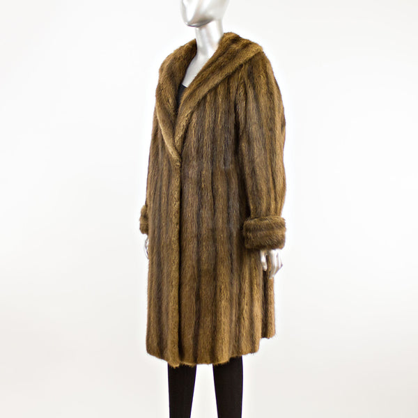 Brown Muskrat Coat- Size XL (Vintage Furs)