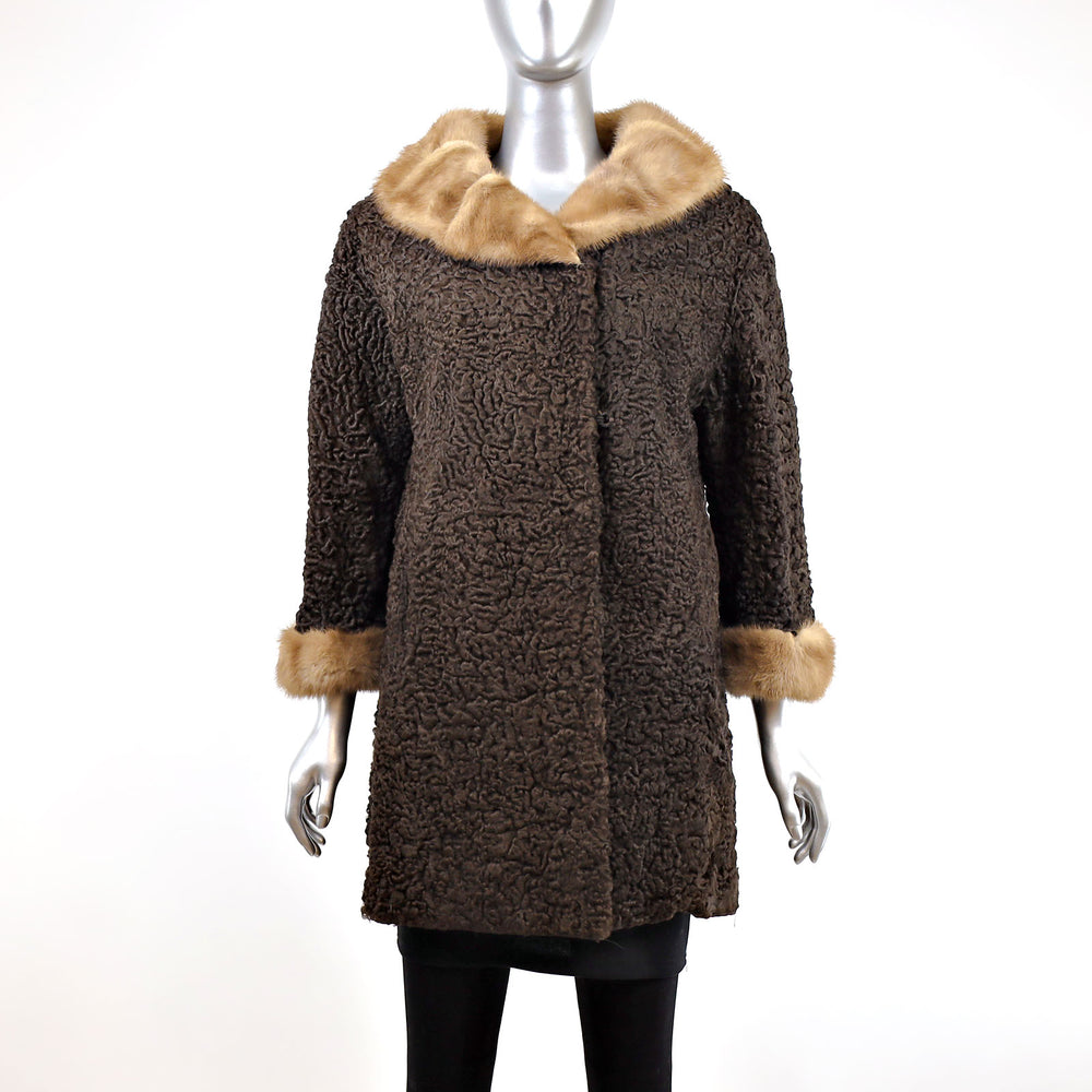 Brown Persian Lamb Coat with Mink Collar and Cuffs- Size M (Vintage Furs)