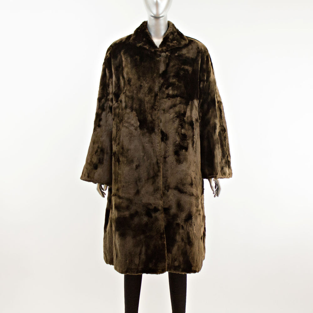 Brown Sheared Beaver Coat- Size XL (Vintage Furs)