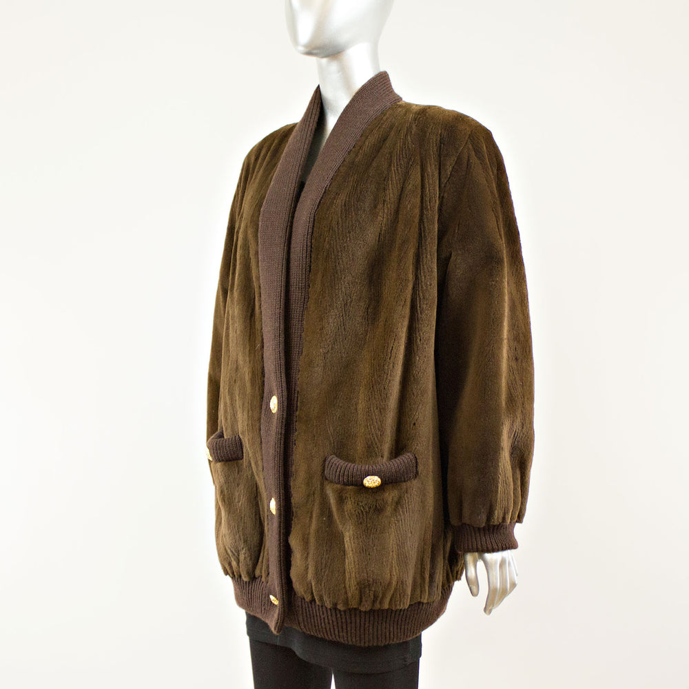 Brown Sheared Mink Jacket Sweater - Size XL ( Vintage Furs)