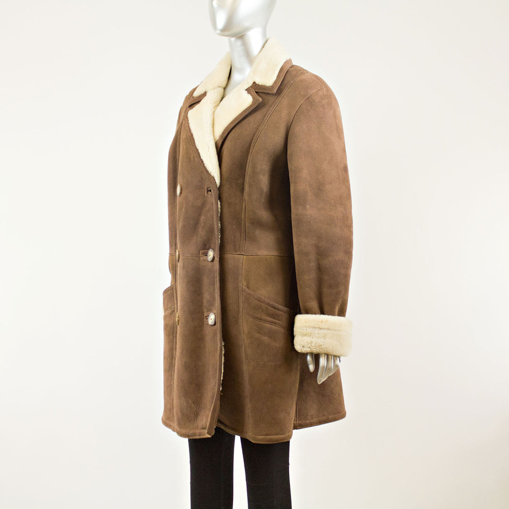 Brown Tan Shearling 3/4 Coat  - Size L ( Vintage Furs)