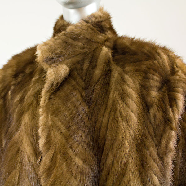 Brown V-Cut Corded Mink Coat Reversible to Leather - Size L (Vintage Furs)