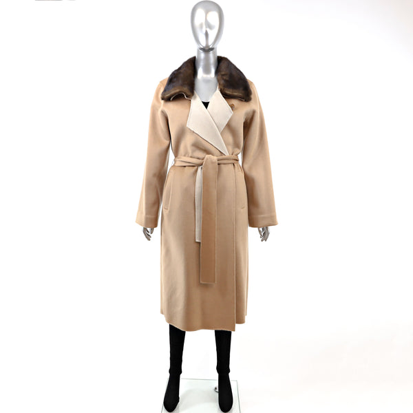 BRAND NEW Cashmere Coat with Mink Collar- Size M (Vintage Furs)