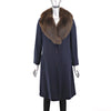 Cloth Coat with Fox Collar- Size XS (Vintage Furs)