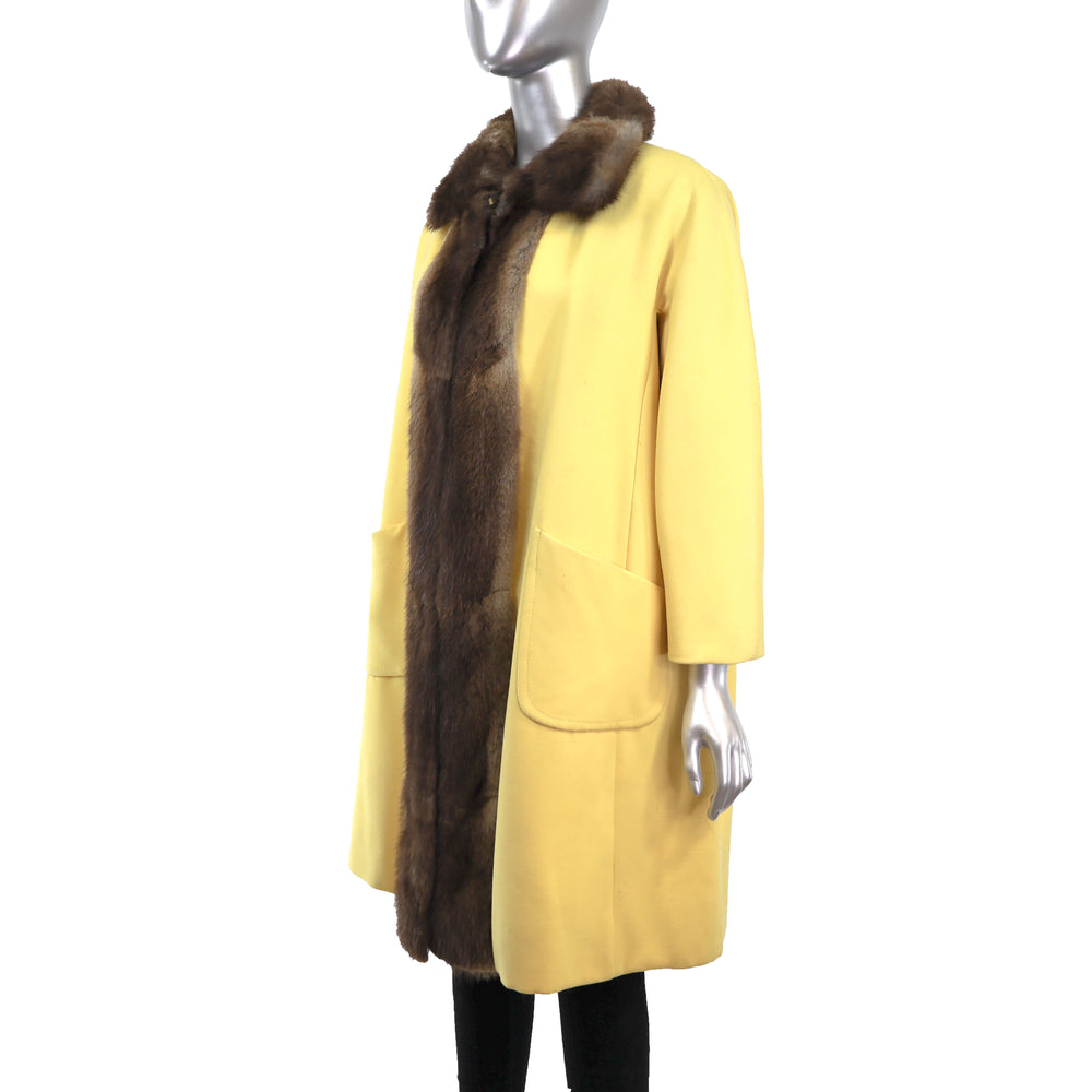 Yellow Cloth Coat with Muskrat Trim- Size M (Vintage Furs)