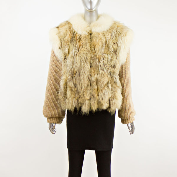 Coyote with Fox Trim Jacket Zip Off Sleeves- Size S (Vintage Furs)