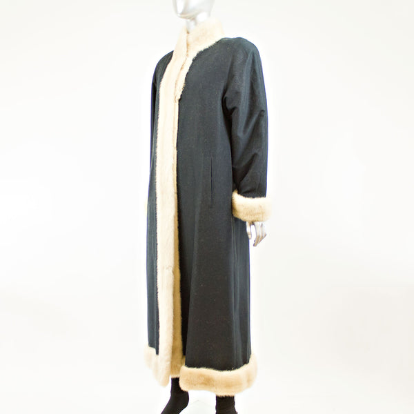 Dark blue microfiber coat with sheared mink lining - Size S (Vintage Furs)
