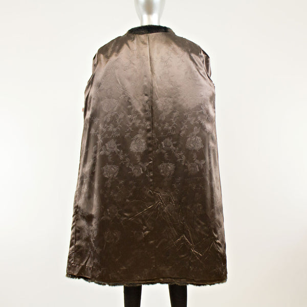 Dark Chocolate Brown Coat Faux - Size XXXL (Vintage Furs)
