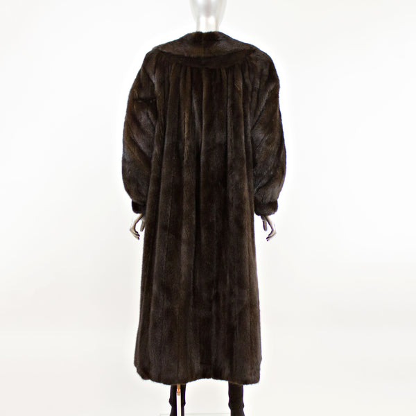 Dark Mahogany Mink Coat with Diagonal Bracelet Cuffs- Size L-XL (Vintage Furs)
