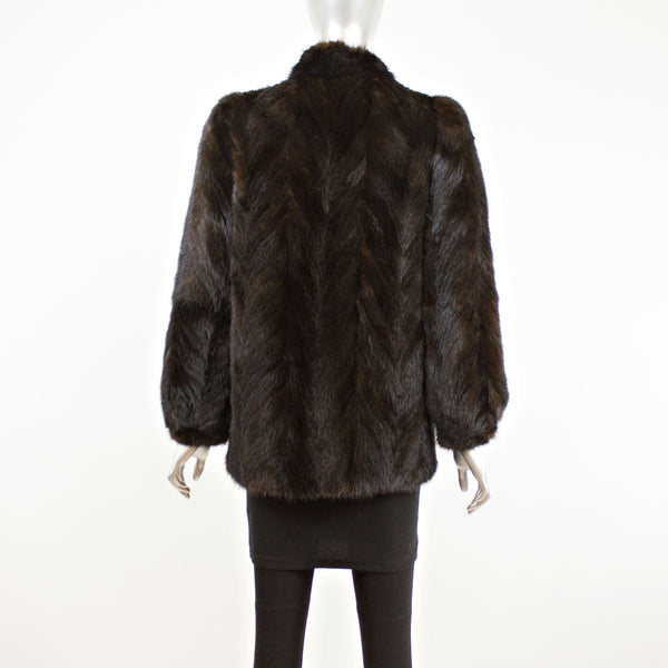Dark Mahogany Section Mink Jacket- Size S-M (Vintage Furs)