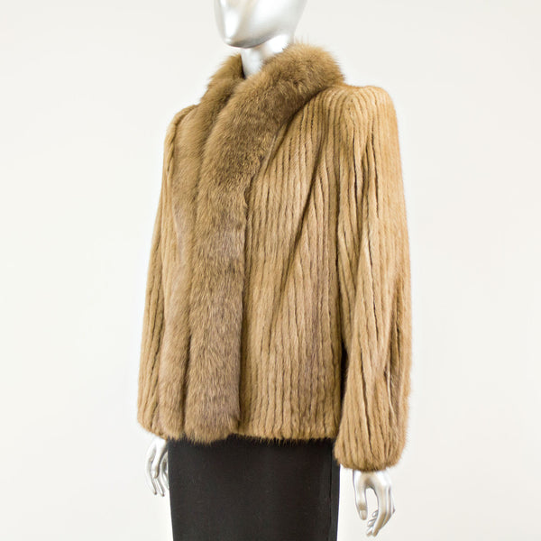 Demi Buff Mink jacket with Fox Tuxedo - Size M ( Vintage Furs)