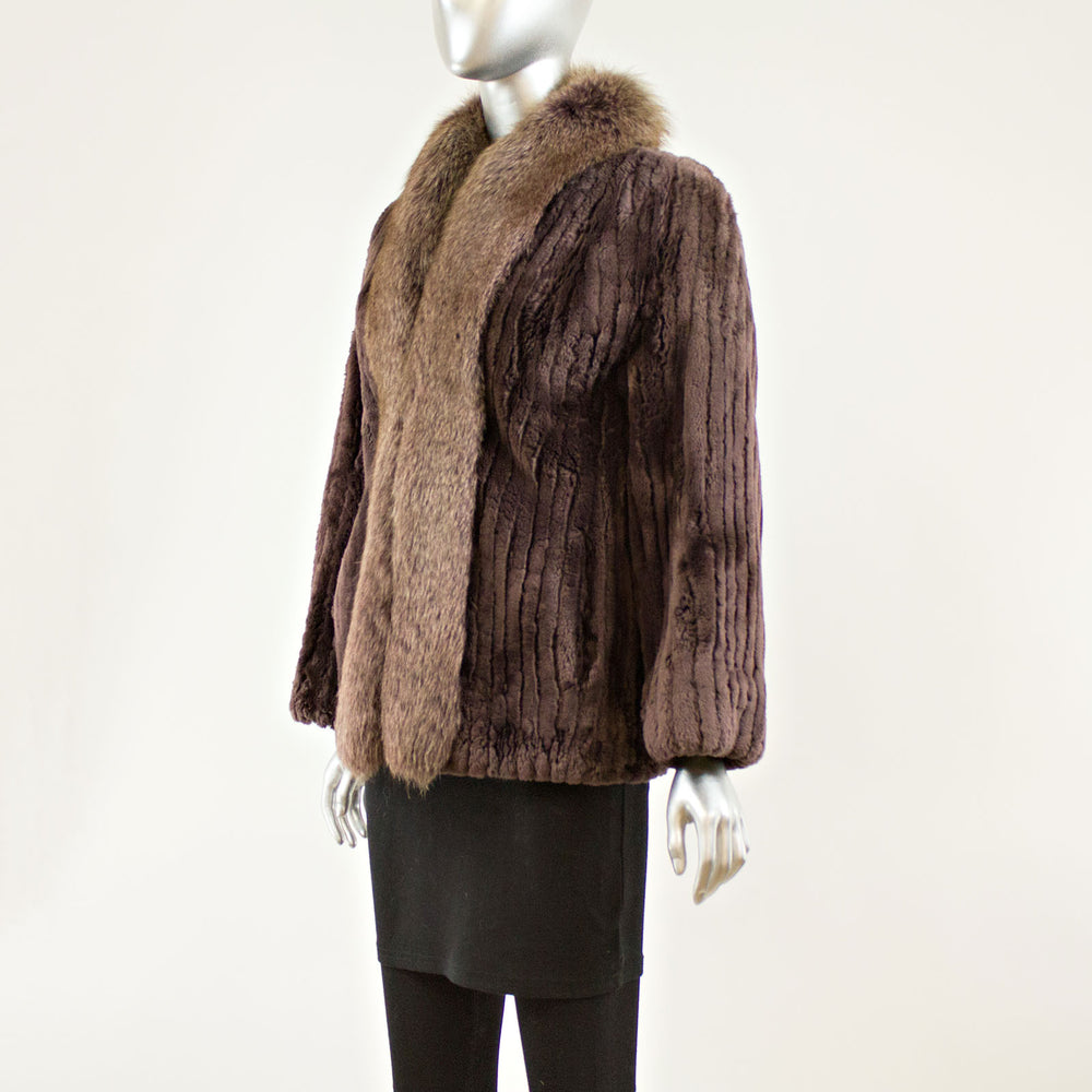 Dyed Purple Sheared Beaver Jacket with Fox- Size M (Vintage Furs)
