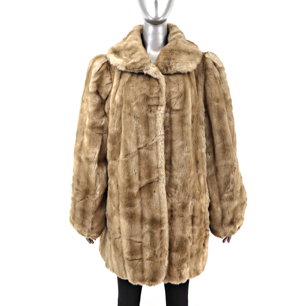 Beige Faux Fur Jacket- Size XL