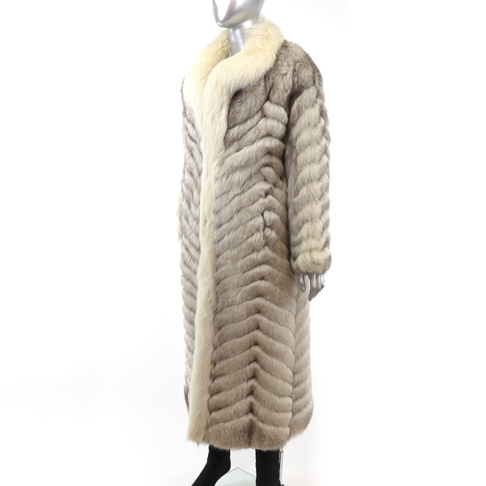 Full Length Blue Fox Coat- Size M (Vintage Furs)
