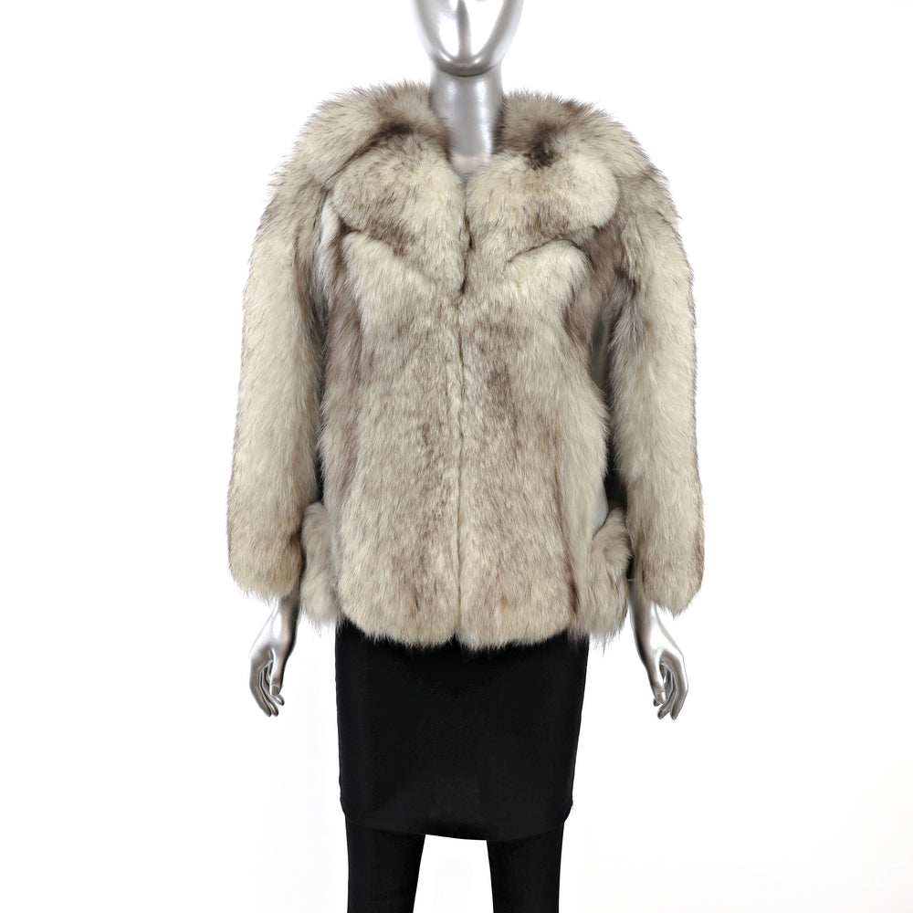 Blue Fox Jacket with Leather Insert- Size S (Vintage Furs)