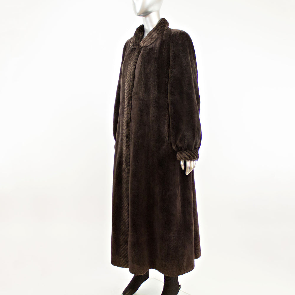 Full Length Sheared Beaver Coat- Size L (Vintage Furs)