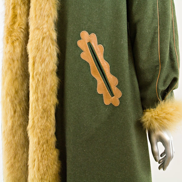 REVILLON Green Wool Coat Reversible to Mink with Red Fox Tuxedo - Size S (Vintage Furs)