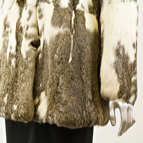 Grey and White Rabbit Jacket - Size S (Vintage Furs)