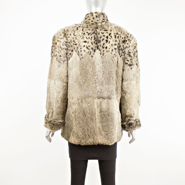 Grey Rabbit Jacket with Dyed Animal Print- Size M (Vintage Furs)