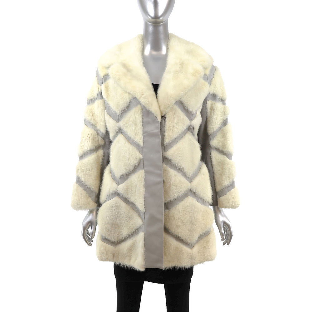 Ivory Mink Coat with Leather Insert- Size S (Vintage Furs)