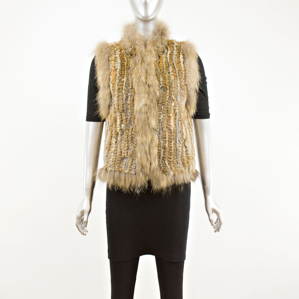 Knitted Natural Rabbit Vest- Size XS (Vintage Furs)