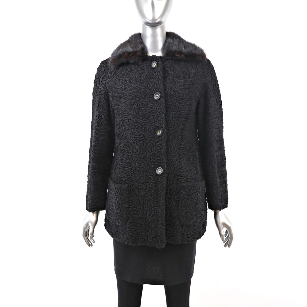 Persian Lamb Jacket with Mink Collar- Size S-M (Vintage Furs)