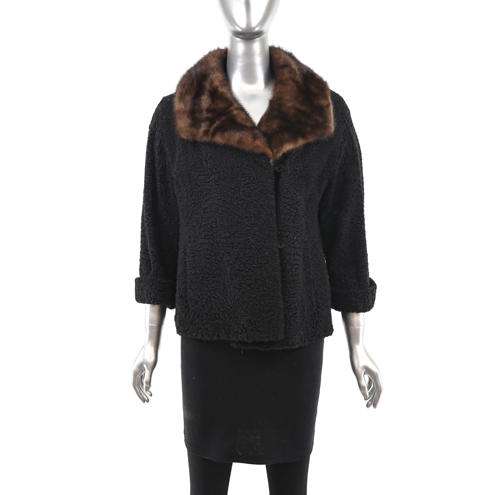 Persian Lamb Jacket with Mink Collar- Size M